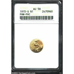 1915-S G$1 Panama-Pacific Gold Dollar AU58 ANACS. This piece represents excellent value as the mint.