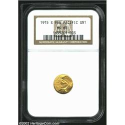 1915-S G$1 Panama-Pacific Gold Dollar MS65 NGC. Pleasing, abrasion-free surfaces with attractive gol
