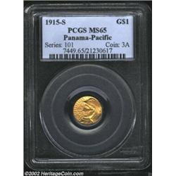 1915-S G$1 Panama-Pacific Gold Dollar MS65 PCGS. Dynamic mint luster is seen over each side of this.