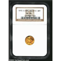 1915-S G$1 Panama-Pacific Gold Dollar MS66 NGC. While numerous examples exist of this issue in the b
