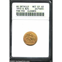 1915-S $2 1/2 Panama-Pacific Quarter Eagle--Cleaned--ANACS. AU Details, Net XF40. The obverse is lig