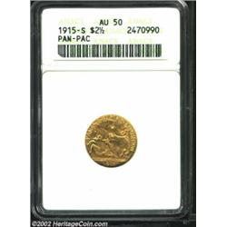 1915-S $2 1/2 Panama-Pacific Quarter Eagle AU50 ANACS. Perhaps carried as a pocket piece for a short