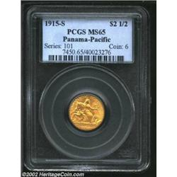 1915-S $2 1/2 Panama-Pacific Quarter Eagle MS65 PCGS. Uncommonly smooth for the type, both sides are