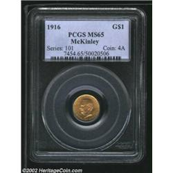 1916 G$1 McKinley MS65 PCGS. An exceptionally pleasing Gem example of this popular Commemorative Gol