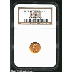 1916 G$1 McKinley MS65 NGC. Smooth from rim to rim, as one would expect for a solidly graded Gem, th