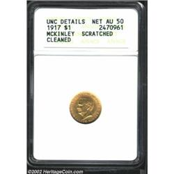 1917 G$1 McKinley--Scratched, Cleaned--ANACS. Unc Details, Net AU50. Orange-gold coloration.From The