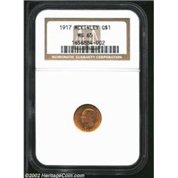 1917 G$1 McKinley MS65 NGC. Beautiful, variegated colors dance across smooth surfaces in reddish-gol