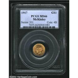 1917 G$1 McKinley MS66 PCGS. The surfaces show a significant lilac coloration in the fields and rece