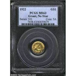 1922 G$1 Grant MS63 PCGS. A bright and lustrous example that is well struck aside from the tree trun