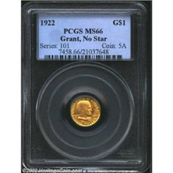 1922 G$1 Grant MS66 PCGS. A pleasing Gem that has rich honey-gold color and lustrous surfaces. Exqui
