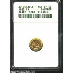 1922 G$1 Grant with Star--Cleaned--ANACS. AU Details, Net XF40. The obverse has a few speckles of ta