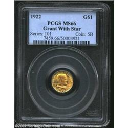 1922 G$1 Grant with Star MS66 PCGS. Predominantly bright yellow-gold in color, with a pinkish patina