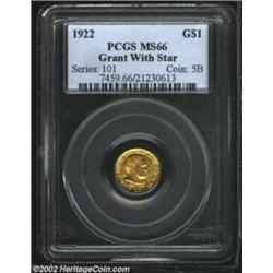 1922 G$1 Grant with Star MS66 PCGS. Warm green-gold color envelops both sides of this carefully pres
