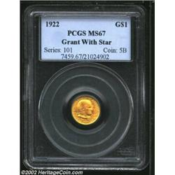 1922 G$1 Grant with Star MS67 PCGS. Rich pumpkin-orange and yellow-green color. A splendid Superb Ge