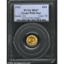 1922 G$1 Grant with Star MS67 PCGS. Only 5,016 pieces were struck of the Grant Gold Dollar and few a