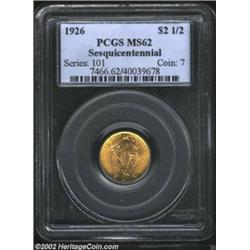 1926 $2 1/2 Sesquicentennial MS62 PCGS. Lustrous with rich honey-gold color and a bold strike. The r