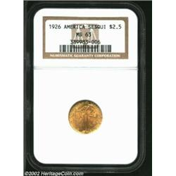 1926 $2 1/2 Sesquicentennial MS63 NGC. Bright and eye-clean, with even, shimmering luster on both si