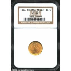 1926 $2 1/2 Sesquicentennial MS64 NGC. A pleasing original specimen with overall matte-like luster..