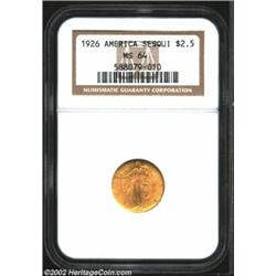 1926 $2 1/2 Sesquicentennial MS64 NGC. Well defined with shimmering mint frost and a small obverse s