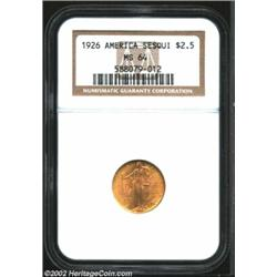 1926 $2 1/2 Sesquicentennial MS64 NGC. Fully brilliant with a nice strike, a few minor abrasions, an
