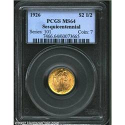 1926 $2 1/2 Sesquicentennial MS64 PCGS. Crisp golden color and a bold strike compliment the lustrous