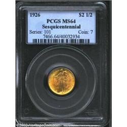 1926 $2 1/2 Sesquicentennial MS64 PCGS. Dashing golden luster boldly frames the details of this beau