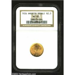 1926 $2 1/2 Sesquicentennial MS65 NGC. Smooth with fulsome mint frost and original orange and golden