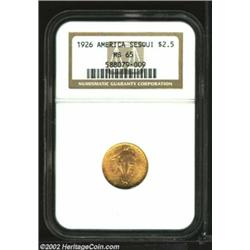 1926 $2 1/2 Sesquicentennial MS65 NGC. Rich orange-gold color envelops surfaces that are fully lustr