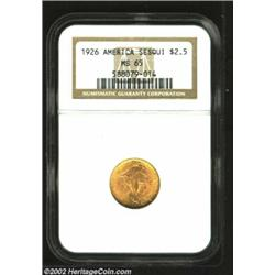 1926 $2 1/2 Sesquicentennial MS65 NGC. Pleasingly original, both the obverse and reverse are awash i