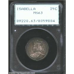 1893 25C Isabella Quarter MS63 PCGS. Sharply defined and minimally marked for the grade with russet.