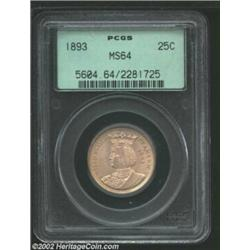 1893 25C Isabella Quarter MS64 PCGS. While the surfaces appear smooth enough to warrant a Gem rating
