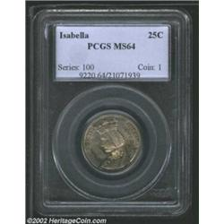 1893 25C Isabella Quarter MS64 PCGS. Lovely waves of copper-gold, powder-blue, lilac, and russet pat