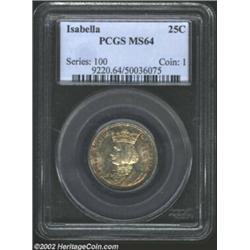 1893 25C Isabella Quarter MS64 PCGS. Rich speckles of tobacco-brown and cobalt-blue patina encroach.
