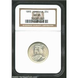 1893 25C Isabella Quarter MS65 NGC. Both sides are silky smooth in sheen with few blemishes of any k