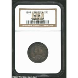 1893 25C Isabella Quarter MS65 NGC. Multiple layers of rich, original toning overlay both sides in a