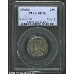 1893 25C Isabella Quarter MS66 PCGS. Rich cobalt-blue peripherally shadings frame equally desirable.