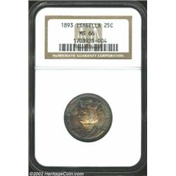 1893 25C Isabella Quarter MS66 NGC. A gorgeous coin for the toning enthusiast, both sides display ov