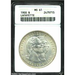 1900 S$1 Lafayette Dollar MS61 ANACS. DuVall 2-C, Rare. The second S in STATES is repunched. Nicely.