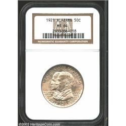 1921 50C Alabama MS64 NGC. An attractive specimen for the grade. The luster grazes that account for.