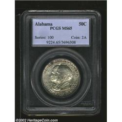 1921 50C Alabama MS65 PCGS. This well preserved Gem was sharply impressed, and has only acquired a h