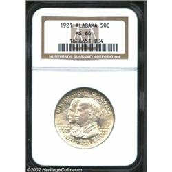 1921 50C Alabama MS66 NGC. An absolutely stunning Alabama, the surfaces are bright and untoned throu