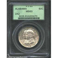 1921 50C Alabama 2x2 MS63 PCGS. The peripheral legends have traces of PVC residue. A faint die crack