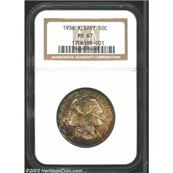 1936 50C Albany MS67 NGC. Burnt orange hues blend into russet, then deep gray hues on both sides of.