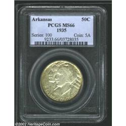 1935 50C Arkansas MS66 PCGS. The otherwise dove-gray surfaces exhibit irregular russet-copper shadin