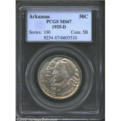 1935-D 50C Arkansas MS67 PCGS. Conditionally rare, and desirable as such, this smooth example is sil