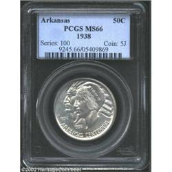 1938 50C Arkansas MS66 PCGS. A well struck and brilliant Gem with satiny luster and essentially imma