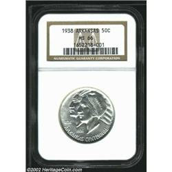 1938 50C Arkansas MS66 NGC. Well struck and fully brilliant, with a terrific amount of satiny mint l