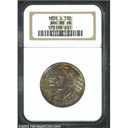 1938-S 50C Arkansas MS66 NGC. Deeply variegated yellow-green, ruby-red, and gold patina. Well struck