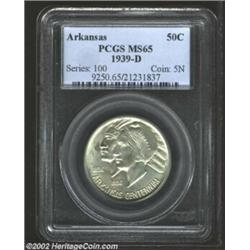 1939-D 50C Arkansas MS65 PCGS. A dash of bluish-gray toning is noted on both sides of this Gem.From.