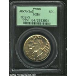 1939-S 50C Arkansas MS64 PCGS. Golden overtones are evident on this otherwise pleasing and attractiv